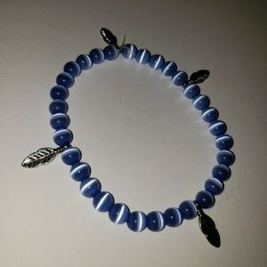 Blue Beaded Bracelet with Silver Leaves